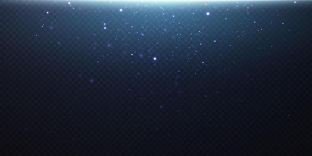 Polvere magica scintillante. su uno sfondo nero materico. celebrazione sfondo astratto da piccole particelle di polvere scintillanti e stelle. effetto magico festivo
