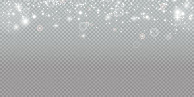 Polvere magica scintillante. su uno sfondo bianco e nero materico. celebrazione astratto di particelle di polvere di luce e argento scintillanti e stelle. effetto magico. festivo.