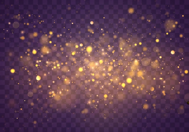 Polvere magica scintillante e particelle d'oro su sfondo trasparente. glitter ed elegante. concetto magico. effetto bokeh astratto. Vettore Premium