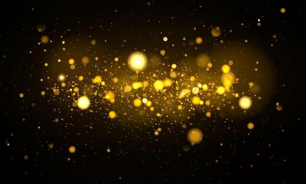 Scintillanti particelle di polvere magica. effetto bokeh.