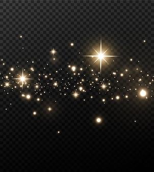 Polvere magica scintillante. su uno sfondo bianco e nero strutturale. celebrazione sfondo astratto fatto di particelle di polvere scintillanti d'oro. effetto magico. stelle d'oro.