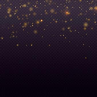 Particelle di polvere d'oro magiche scintillanti luce brillante bagliore bokeh sfondo particelle glitter vettore
