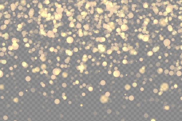 Effetti stelle scintillanti su uno sfondo trasparente.