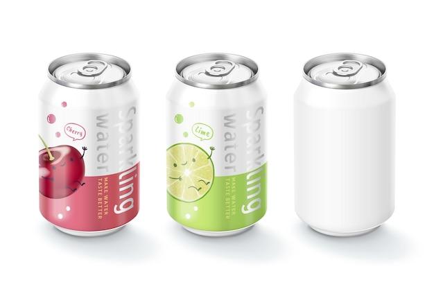 Design del pacchetto di acqua frizzante in illustrazione 3d al gusto di frutta