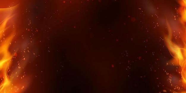 Le scintille volano su particelle incandescenti e con fiamme