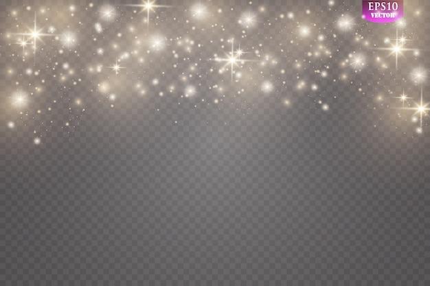 Scintille e scintillio speciale effetto luce. brilla su sfondo trasparente. scintillanti particelle di polvere magica