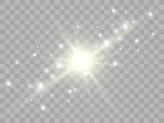 Scintille e stelle dorate scintillano con effetti di luce speciali. brilla su sfondo trasparente. modello astratto di natale. scintillanti particelle di polvere magica