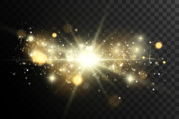 Scintille e stelle dorate scintillano con un effetto di luce speciale. brilla su sfondo trasparente. modello astratto di natale. scintillanti particelle di polvere magica.