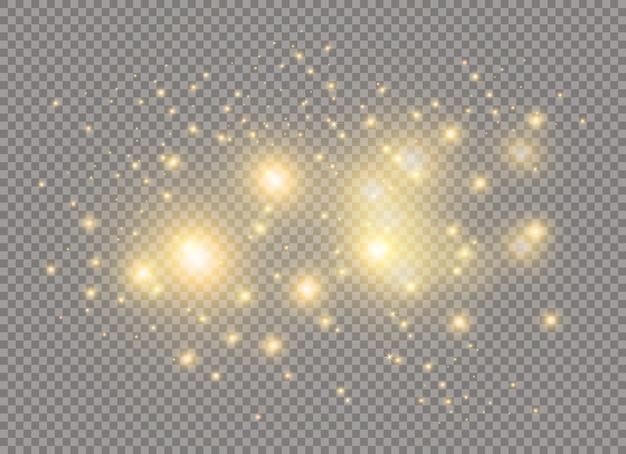 Scintille e stelle brillano con un effetto di luce speciale. scintillanti particelle di polvere magica.
