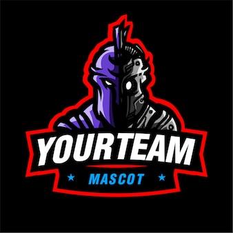 Logo di gioco mascotte robot sparta