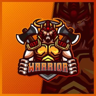 Gladiatore spartano guerriero con ascia mascotte esport logo design illustrazioni modello logo cavaliere romano