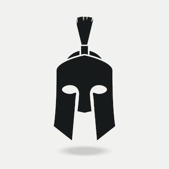 Armatura frontale greca o romana con elmo spartano per legionario gladiatore