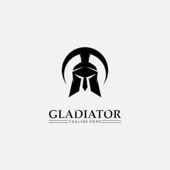 Disegno dell'icona del modello di logo di casco spartano