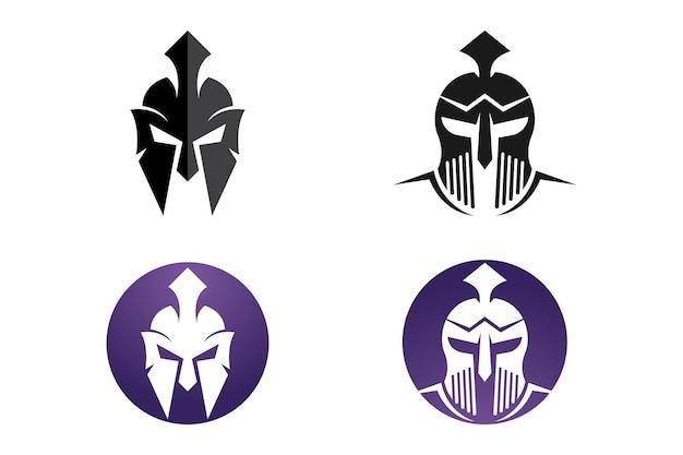 Disegno dell'icona di vettore del modello di logo del casco spartano