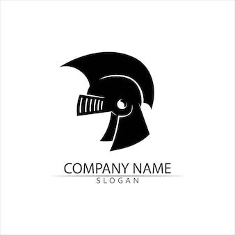Modello di logo del casco spartano