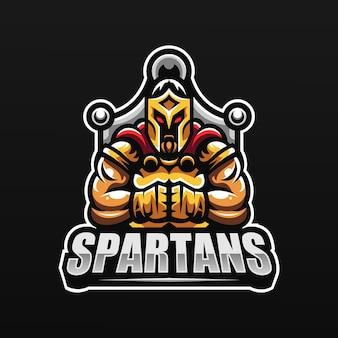 Mascotte del cavaliere spartano per esport e logo della squadra sportiva
