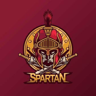 Mascotte spartana per il design del logo esport