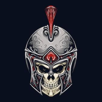 Disegno dell'illustrazione della testa del cranio spartano