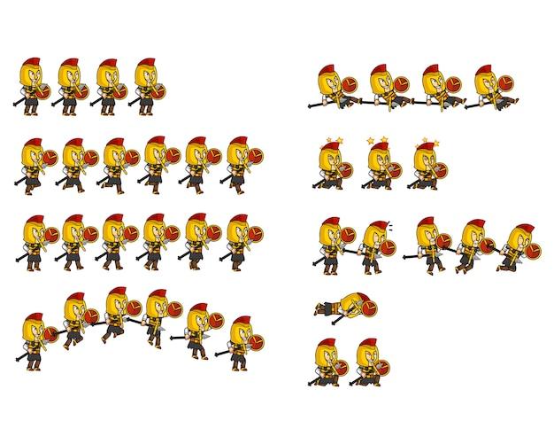 Sprite spartan warrior cartoon character animation