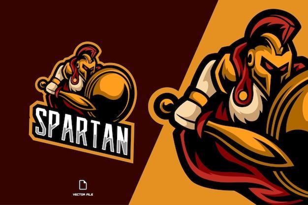 Logo del gioco mascotte combattente guerriero spartano