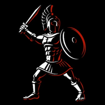 Guerriero spartano. illustrazione del gladiatore su sfondo scuro.