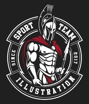 Un modello di logo di guerriero spartano