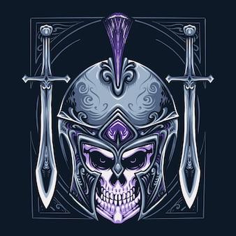 Illustrazione della testa del cranio del guerriero spartano