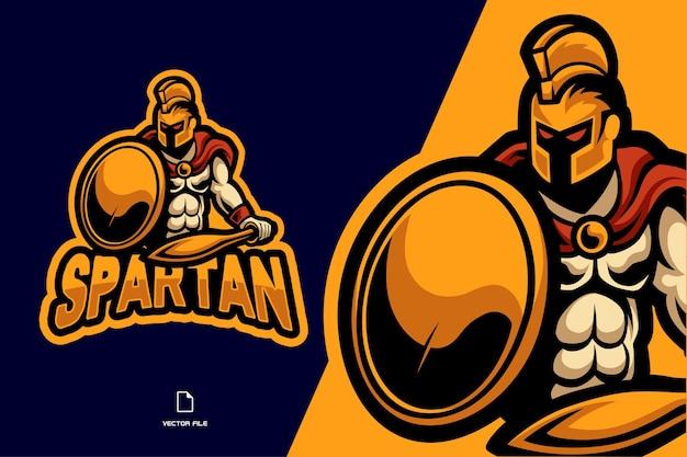 Spartano con spada e scudo mascotte esport logo illustrazione