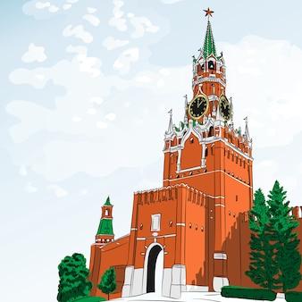 Torre spasskaya del cremlino di mosca, russia, vista dalla piazza rossa