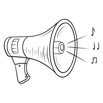 Parla più forte. un dispositivo per aumentare il volume. megafono. stile di linea. illustrazioni per il design e la decorazione.