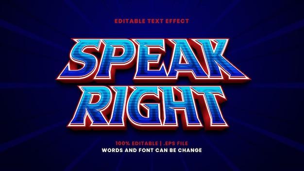 Pronuncia l'effetto di testo modificabile corretto in stile 3d moderno