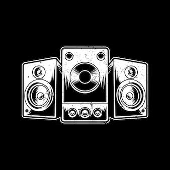 Logo del design dell'illustrazione dell'illustrazione dell'altoparlante