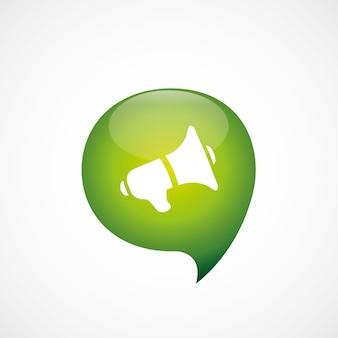 Altoparlante icona verde pensare bolla simbolo logo, isolato su sfondo bianco
