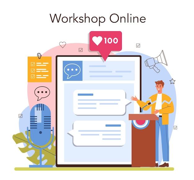 Servizio online di relatore o specialista di retorica della piattaforma che parla