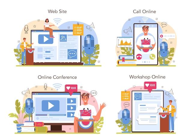 Servizio online di altoparlanti o set di piattaforme. specialista di retorica che parla