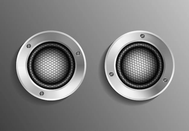 Altoparlante realistico, sistema di studio musicale, volume elettronico musica design illustrazione record mixerbox musical personalizzato