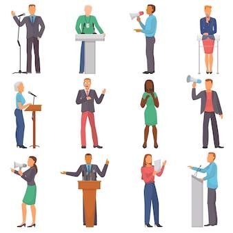 I caratteri della gente di vettore dell'altoparlante che parlano all'evento di affari o sull'insieme dell'illustrazione della presentazione di conferenza dell'uomo o della donna tengono un discorso sul seminario isolato su bianco