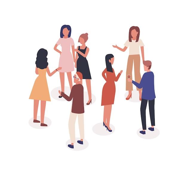 Illustrazione di vettore di persone che parlano. conoscenza e comunicazione, dialogo, concetto di conversazione. società, uomo e donne parlanti a personaggi dei cartoni animati di eventi sociali isolati su priorità bassa bianca.