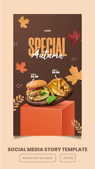 Menu speciale autunnale e hamburger instagram e facebook story e banne template