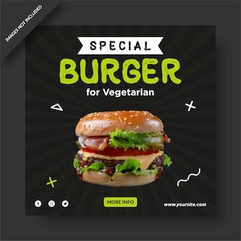 Post di instagram culinario di hamburger speciali