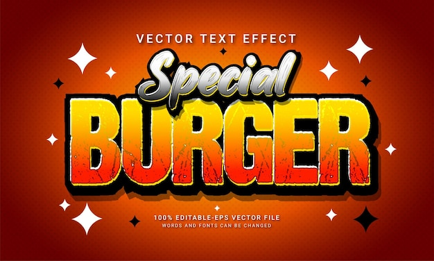 Menu di cibo del ristorante a tema con effetto speciale in stile testo modificabile per hamburger