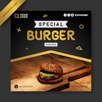 Post di instagram per banner di cibo speciale per hamburger