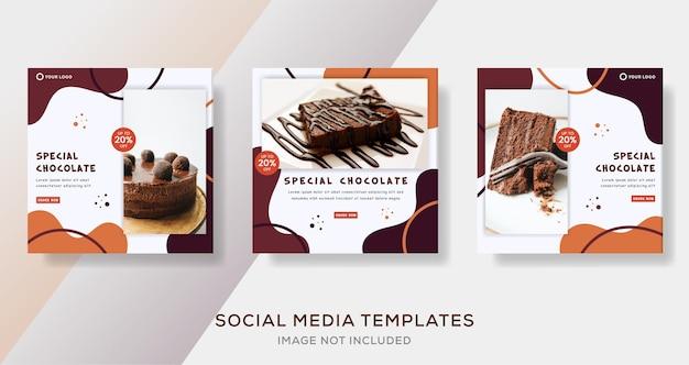 Post modello di banner di cioccolato speciale