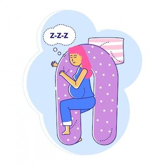 Cuscino medico comodo speciale per la gravidanza, linea donna con sonno tardivo di periodo di gestazione su bianco, illustrazione.