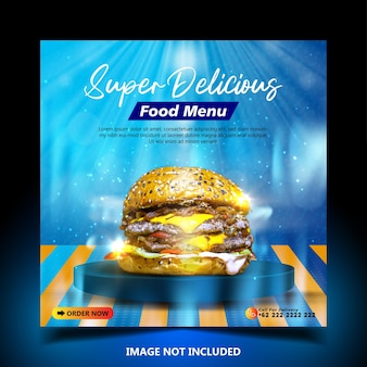 Modello di post banner social media delizioso delizioso hamburger
