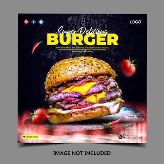 Modello di post banner social media hamburger speciale speciale special