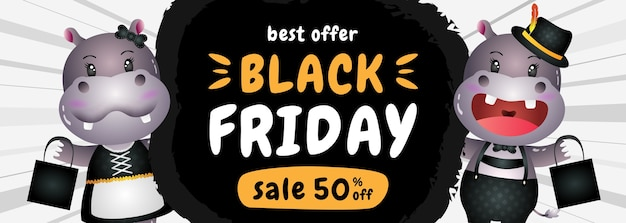 Banner di vendita venerdì nero sconto speciale con ippopotamo carino