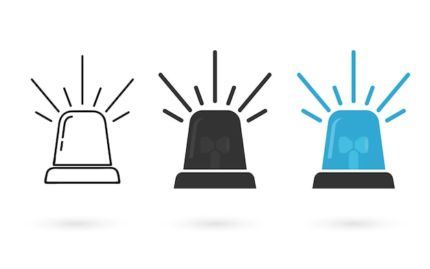Lampeggiatori speciali di emergenza. collezione di sirene in stile piatto