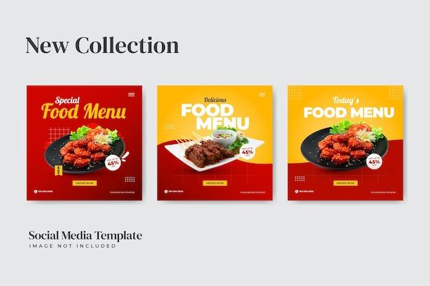 Post sui social media per la raccolta di menu speciali di cibo