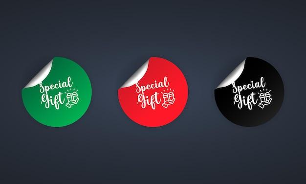 Icona regalo speciale. set di adesivi. sconto. set di etichette regalo speciali. distintivi di etichette di vendita.